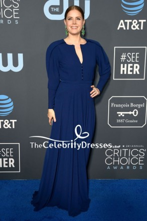 Amy Adams Dark Navy Evening Dress With Sleeves 2019 Critics' Choice Awards