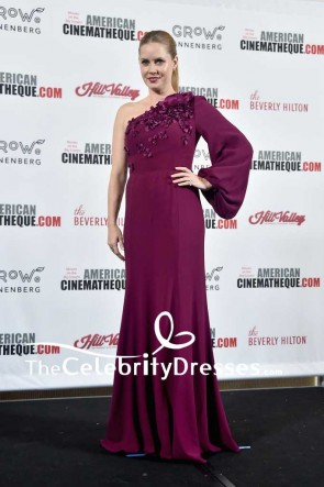 Amy Adams Plum One Shoulder Floral-appliqued Evening Dress With Sleeves 31st Annual American Cinematheque Awards Gala