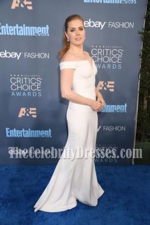 エイミーアダムスホワイトオフショルダーイブニングウエディングドレス第22回批評家 'チョイス賞