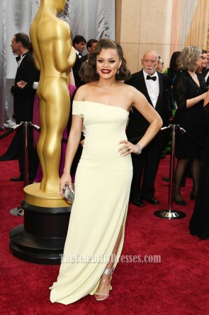 Andra Day 88th Annual Acade Awards Yellow Off-the-shoulder  Evening Prom Gown 2016 Oscars  4