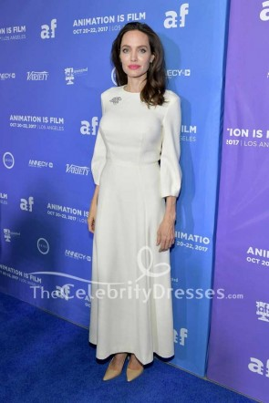 Angelina Jolie Ivory Simple Evening Dress With Sleeves Premiere Of The Breadwinner