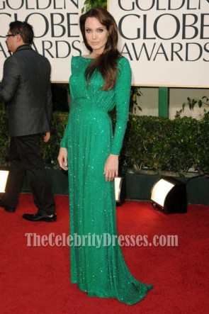 Angelina Jolie Green Sequined Formal Dress Golden Globes 2011