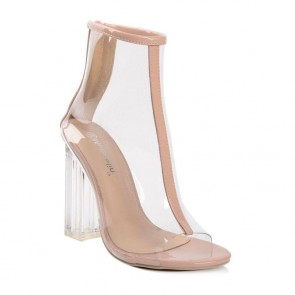 Nude Fish Head Transparent Sandals Crystal High Chunky Heel Summer Boot