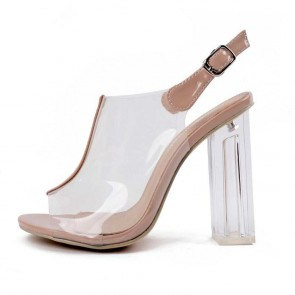 Nude Transparent Open Toe Ankle Strap Sandals High Heels Shoes For Women