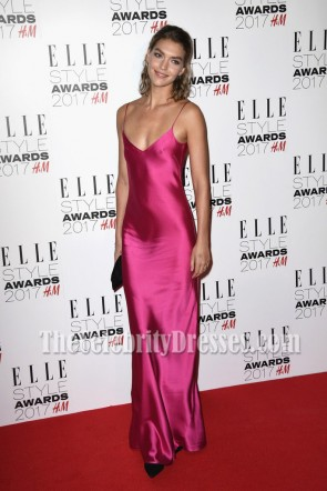 Arizona Muse Fuchsia Spaghetti Strap Slip Plunging Evening Dress  Elle Style Awards 2017 Prom Gown