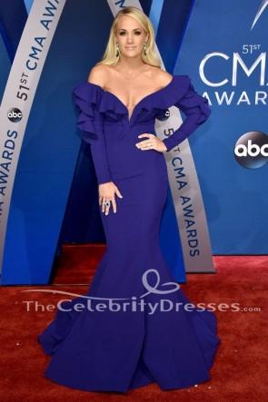 キャリーアンダーウッドロイヤルブルーマーメイドイブニングドレス2017 CMA賞レッドカーペットドレス
