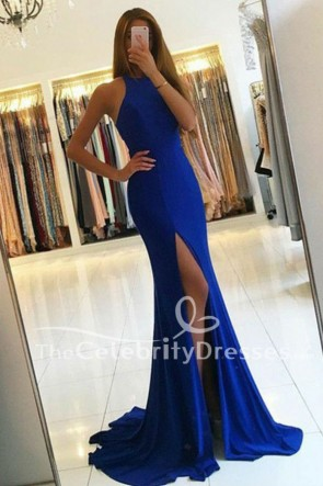 Discount Dark Royal Blue Cut Out Split Evening Gown Formal Dresses TCDFD7736