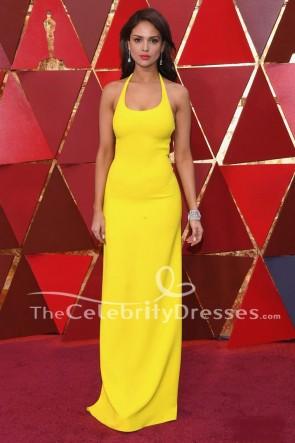 Eiza Gonzalezイエローホルター背中が大きく開いイブニングドレス2018オスカーレッドカーペットガウン