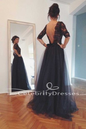 Full Length Tulle A-Line Backless Evening Formal Dresses Prom Gown TCDFD7538