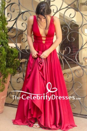 Floor Length Red A-Line Backless Formal Prom Dress Evening Gown TCDFD7820