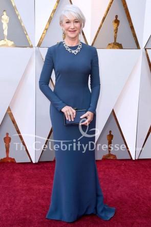 Helen Mirren長袖フォーマルドレス2018オスカーレッドカーペットのイブニングドレス