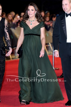 Kate Middleton 2018 BAFTAs Dark Green Formal Dress Evening Gown
