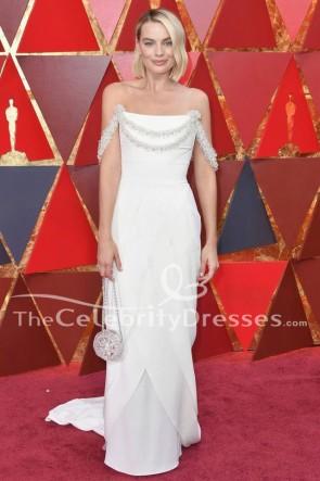 Margot Robbie 2018オスカーレッドカーペットホワイトフォーマルドレスイブニングドレス