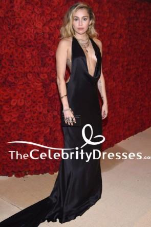 Miley Cyrus 2018 Met Galaセクシーバックレスブラックイブニングドレス