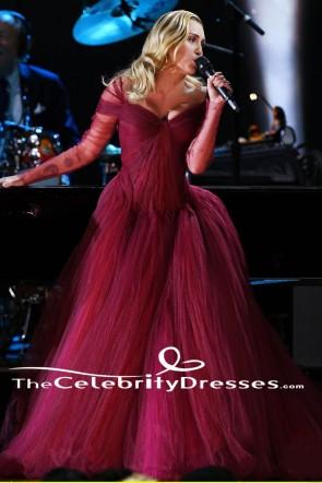 Miley CyrusブルゴーニュAラインイブニングドレス2018グラミー賞パフォーマンス