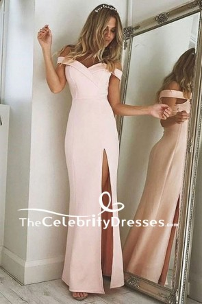 Floor Length Pearl Pink Off-the-Shoulder High Split Evening Prom Dresses TCDFD7824