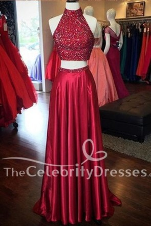 Sexy 2 Pieces Beaded Sleeveless Red Prom Dress Evening Dresses