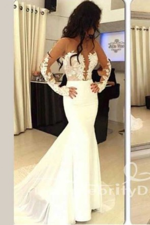 Sexy Ivory Long Sleeves Mermaid Backless Evening Gown Prom Dresses TCDFD7542