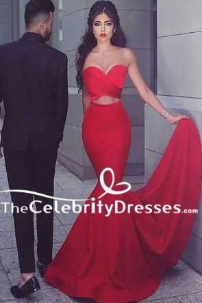 Sexy Red Strapless Sweetheart Mermaid Evening Gown Formal Dresses TCDFD7846