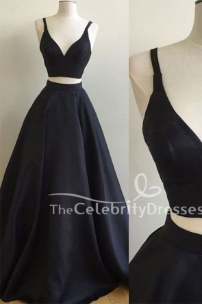 Discount Simple Black Two Pieces Long Prom Gown Evening Dress TCDFD7514