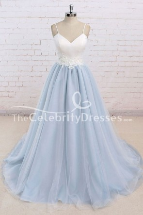 White And Sky Blue A-Line Spaghetti Straps Prom Dress Evening Formal Dresses TCDFD7731