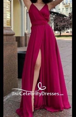 V-neck Chiffon A-line Spaghetti Straps Prom Dress