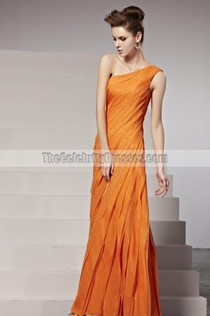 2014 New Orange One Shoulder Formal Dress Evening Gown