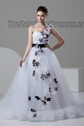 A-Line Chapel Train One Shoulder Wedding Dresses