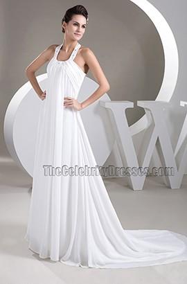 A-Line Halter Chapel Trail Chiffon Wedding Dresses