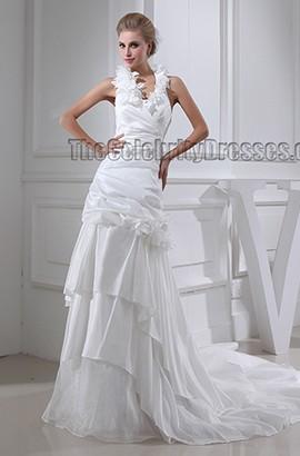 A-Line Halter Chapel Train Wedding Dress Bridal Gown