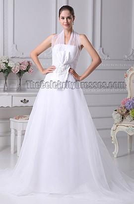 Elgant A-Line Halter Organza Chapel Train Wedding Dresses