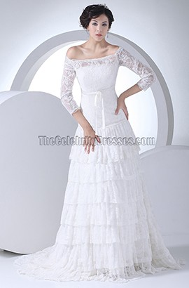 A-Line Lace Off-The-Shoulder Tiered Wedding Dress