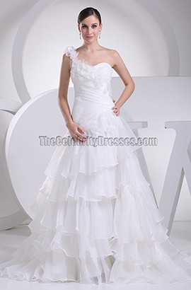 A-Line One Shoulder Chapel Train Organza Wedding Dress