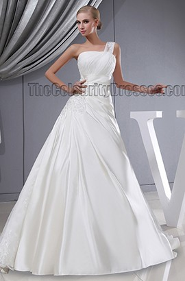 A-Line One Shoulder Embroidered Lace Up Chapel Train Wedding Dress