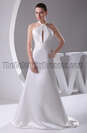 Celebrity Inspired A-Line Satin Keyhole Wedding Dresses