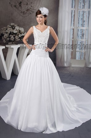 A-Line Sleeveless Embroidered Wedding Dress Bridal Gown