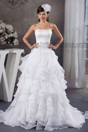 Celebrity Inspired A-Line Strapless Beaded Ruffles Wedding Dresses