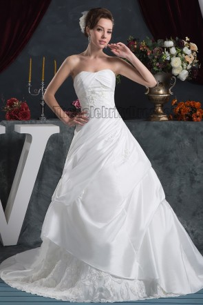 A-Line Strapless Beaded Taffeta Sweep/Brush Train Wedding Dress