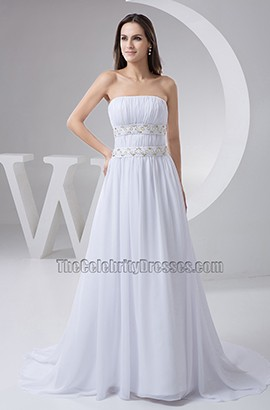 A-Line Strapless Chiffon Chapel Train Wedding Dresses With Beadwork