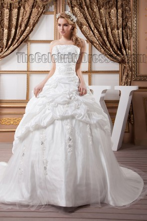 A-Line Strapless Embroidered Strapless Chapel Train Wedding Dresses