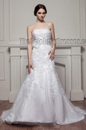 Trumpet /Mermaid Strapless Embroidered Wedding Dress With Beading