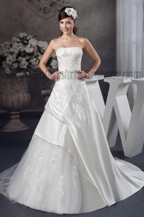 A-Line Strapless Lace Up Embroidered Wedding Dresses