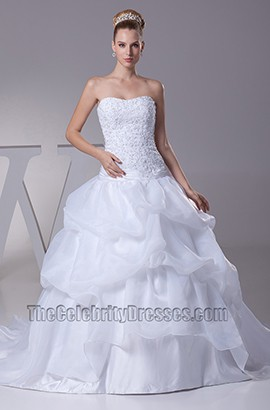 A-Line Strapless Organza Embroidery Wedding Dresses