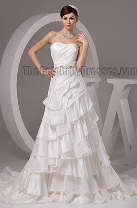 A-Line Strapless Sweetheart Beaded Chapel Train Wedding Dresses