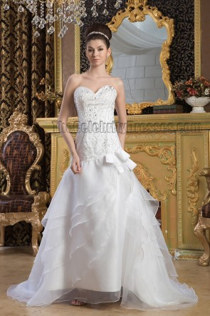A-Line Strapless Sweetheart Beaded Sweep Brush Train Wedding Dress