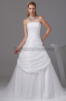A-line Strapless Court Train Taffeta Wedding Dresses