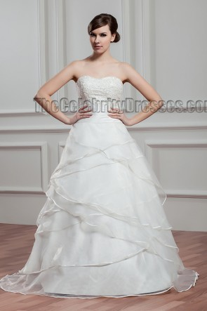 A-Line Sweep Train Strapless Sweetheart Beaded Wedding Dresses