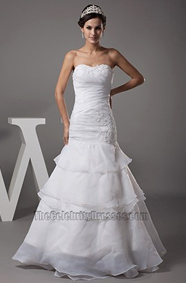 Full Length A-Line Sweetheart Organza Strapless Wedding Dress