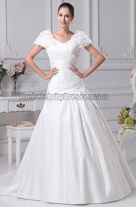 A-Line V-Neck Cap Sleeve Chapel Train Wedding Dresses