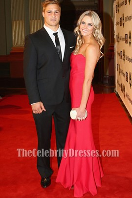 Alyce Taylor Red Strapless Prom Dress 2012 NRL Dally M Awards Red Carpet